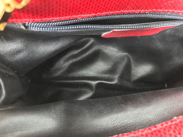 Vintage Ferragamo red lizard clutch cross body handbag 1980s For Sale 2