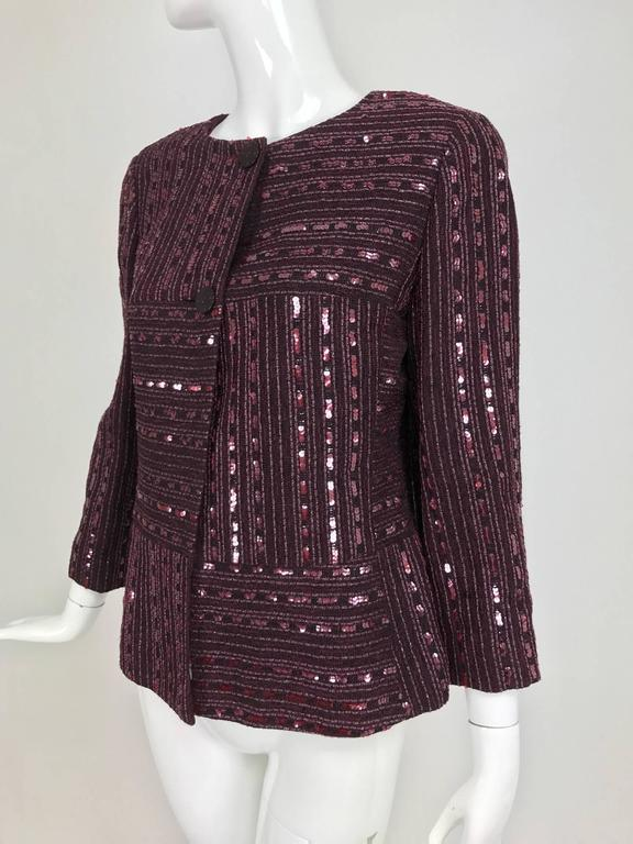 Chanel 2000 Cruise Collection Burgundy Abstract Sequin Grid Jacket For Sale At 1stdibs