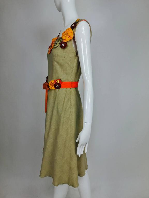 Brown Moschino natural silk linen shift dress with floral appliques and ribbon belt  For Sale