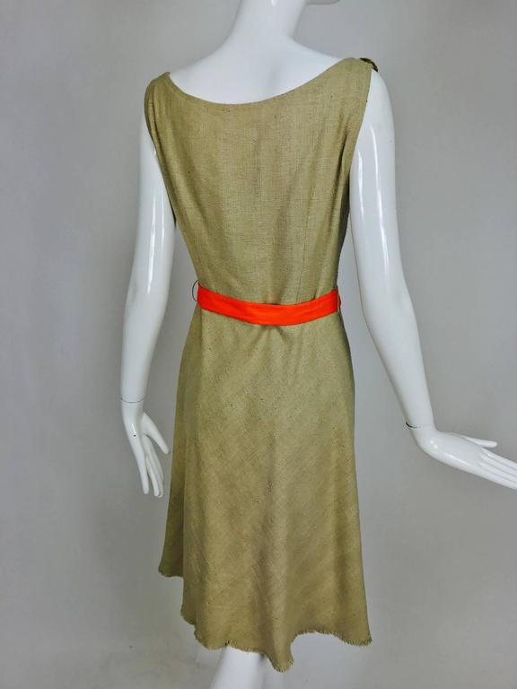 Women's Moschino natural silk linen shift dress with floral appliques and ribbon belt  For Sale