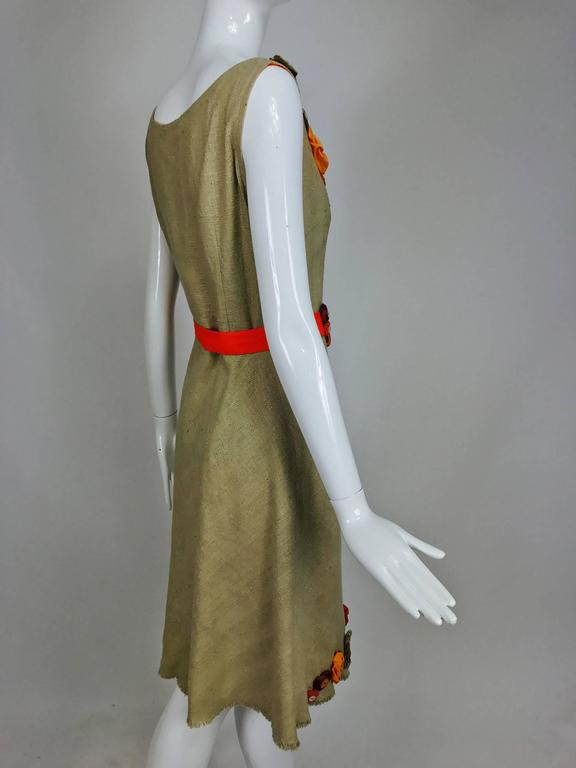 Moschino natural silk linen shift dress with floral appliques and ribbon belt  For Sale 1