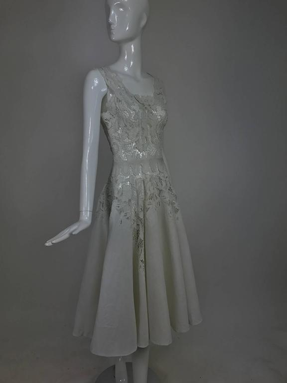 Gray Vintage Madeira cut work white linen dress with circle skirt 1950s For Sale