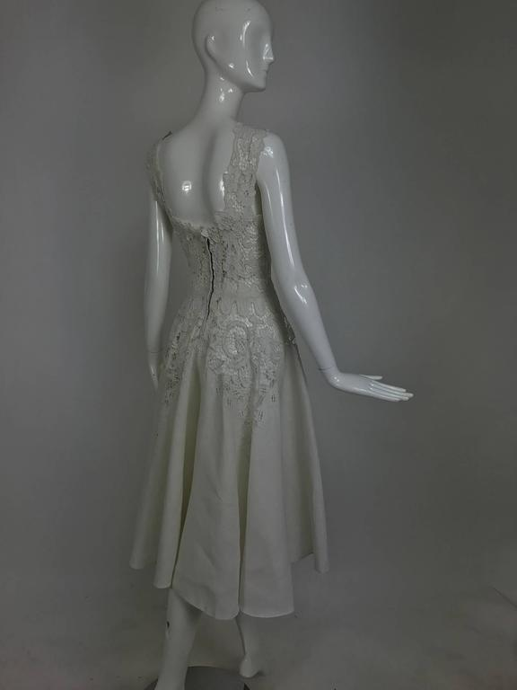 Women's Vintage Madeira cut work white linen dress with circle skirt 1950s For Sale
