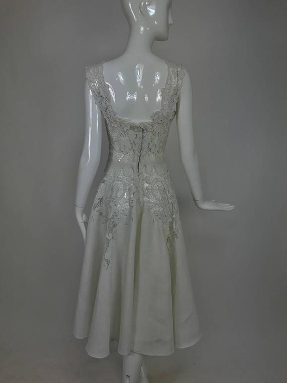 Vintage Madeira cut work white linen dress with circle skirt 1950s For Sale 1