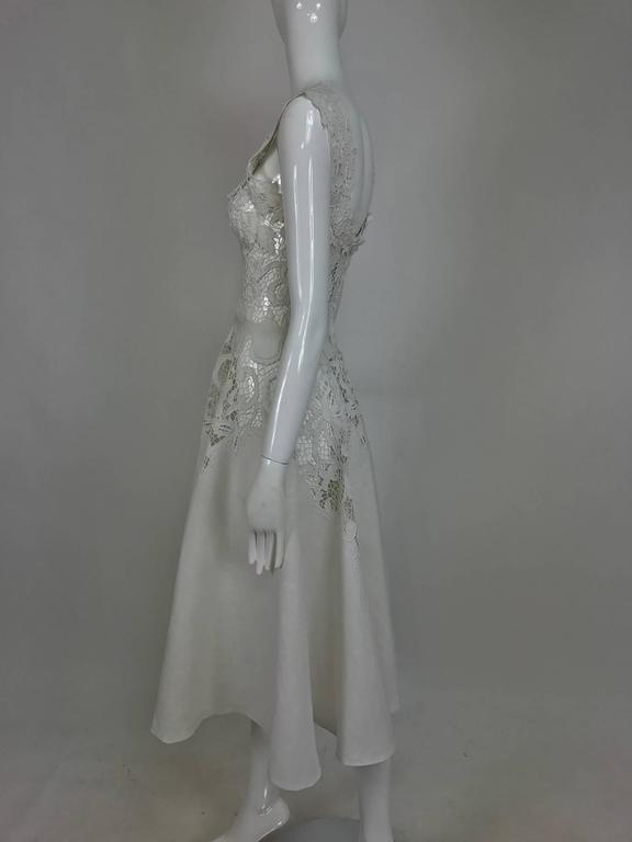 Vintage Madeira cut work white linen dress with circle skirt 1950s For Sale 2