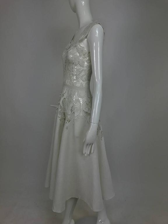 Vintage Madeira cut work white linen dress with circle skirt 1950s For Sale 3