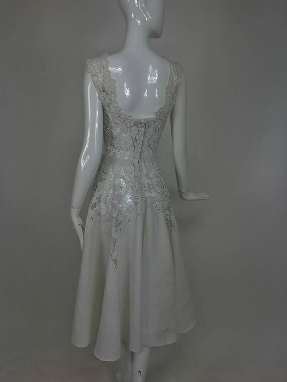 Vintage Madeira cut work white linen dress with circle skirt 1950s For Sale 5