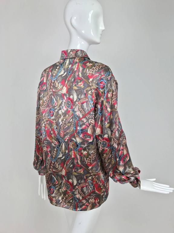 Women's Vintage Gucci silk satin print blouse 1990s For Sale