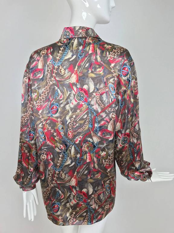 Vintage Gucci silk satin print blouse 1990s For Sale 1
