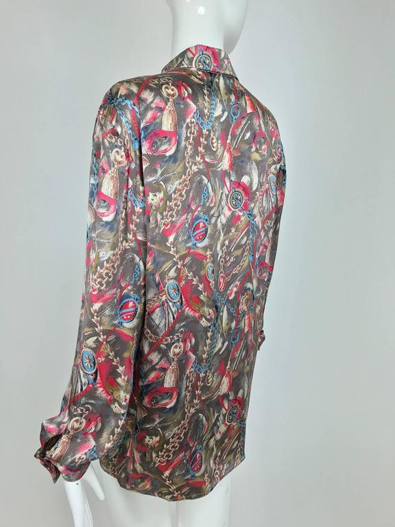 Vintage Gucci silk satin print blouse 1990s For Sale 2