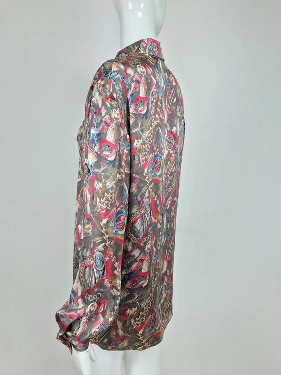 Vintage Gucci silk satin print blouse 1990s For Sale 3