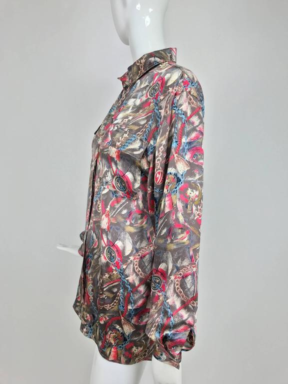 Vintage Gucci silk satin print blouse 1990s For Sale 4