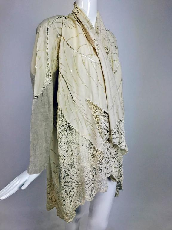 Vintage pieced natural linen and crochet lace cocoon coat Cache 1980s 2