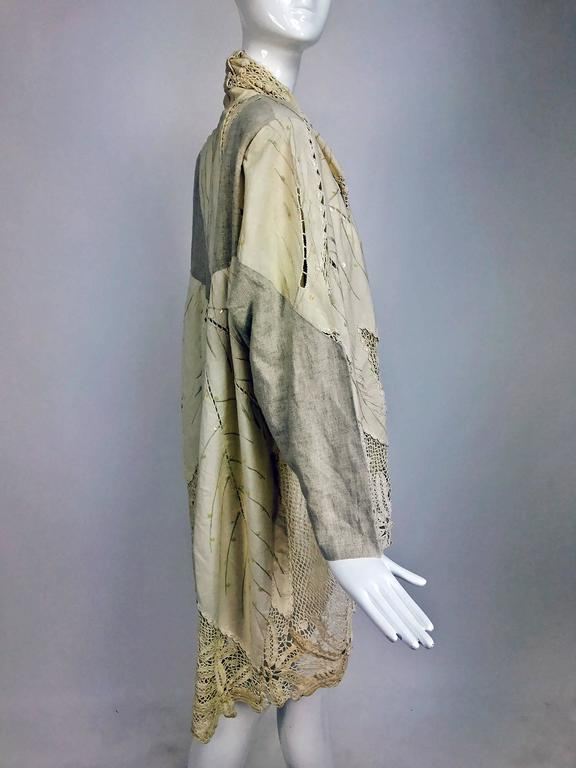 Gray Vintage pieced natural linen and crochet lace cocoon coat Cache 1980s For Sale