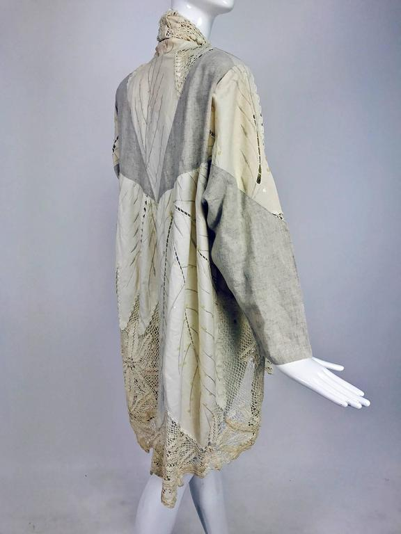 Vintage pieced natural linen and crochet lace cocoon coat Cache 1980s 4