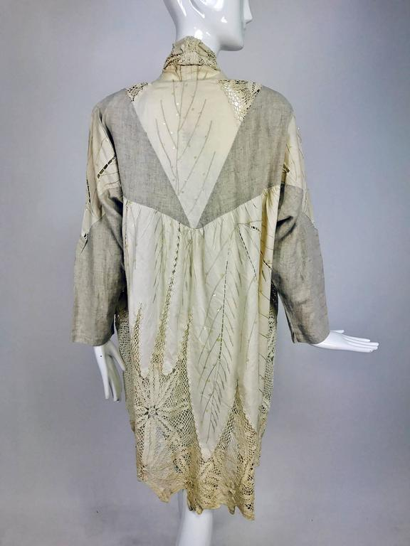 Vintage pieced natural linen and crochet lace cocoon coat Cache 1980s 5