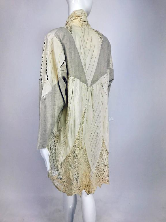 Vintage pieced natural linen and crochet lace cocoon coat Cache 1980s For Sale 1