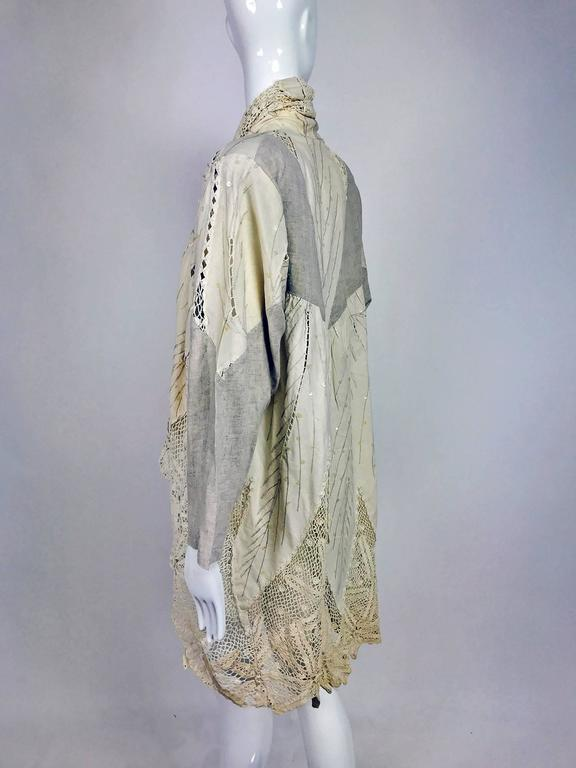 Vintage pieced natural linen and crochet lace cocoon coat Cache 1980s For Sale 2