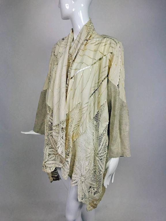 Vintage pieced natural linen and crochet lace cocoon coat Cache 1980s For Sale 3