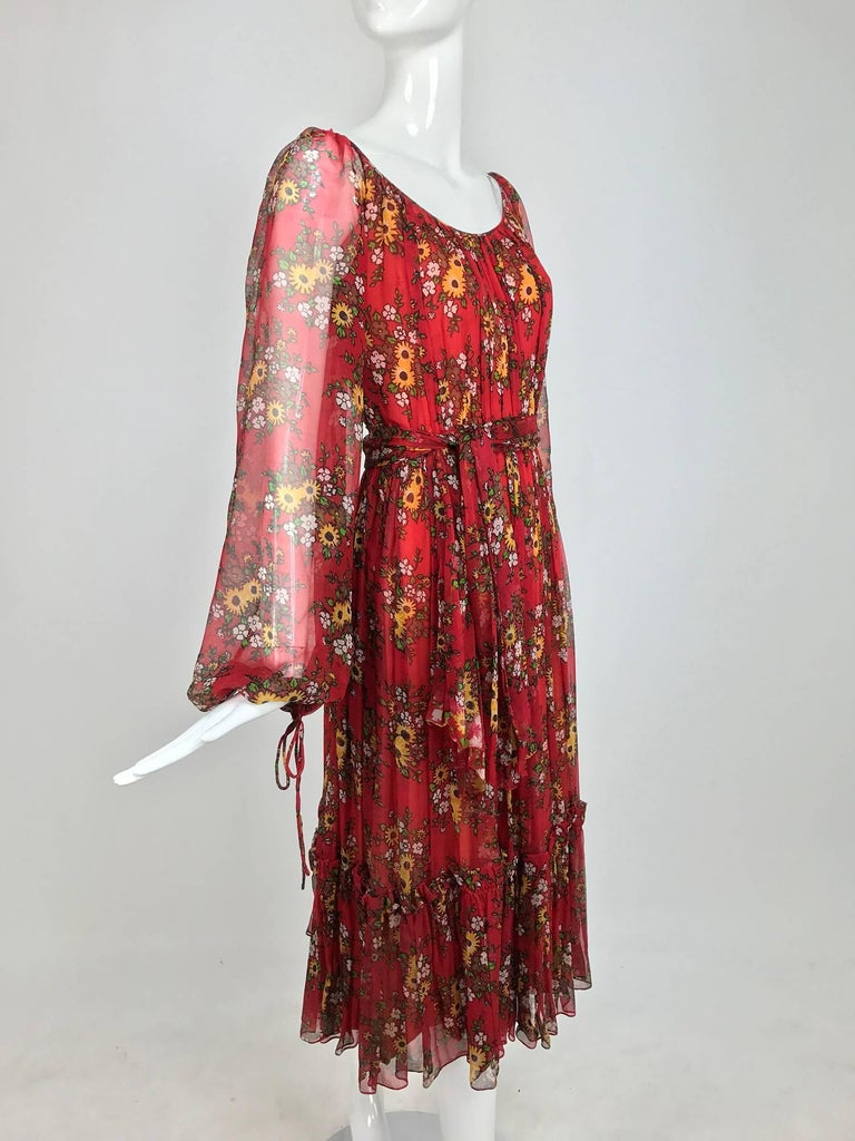Brown Vintage House of Arts India sheer silk floral print peasant dress 1970s For Sale