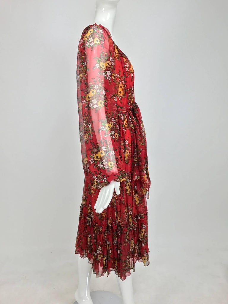 Vintage House of Arts India sheer silk floral print peasant dress 1970s In Excellent Condition For Sale In West Palm Beach, FL