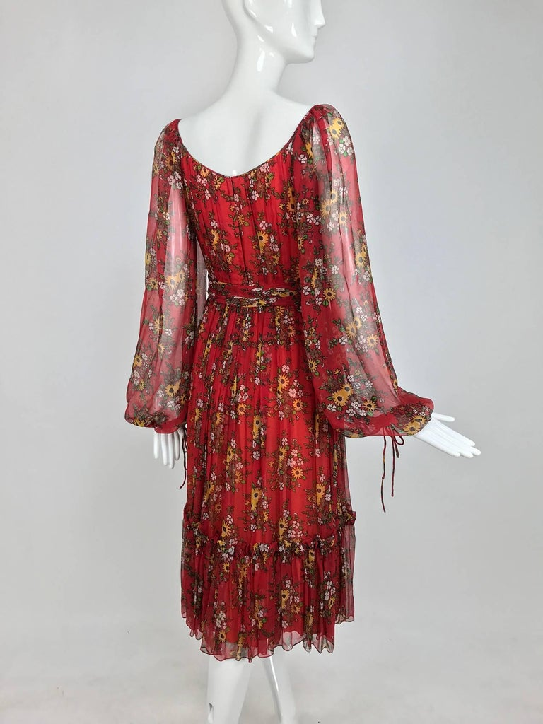 Women's Vintage House of Arts India sheer silk floral print peasant dress 1970s For Sale