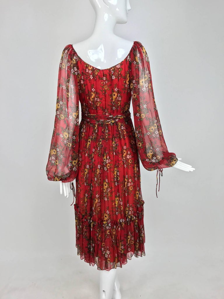 Vintage House of Arts India sheer silk floral print peasant dress 1970s For Sale 1