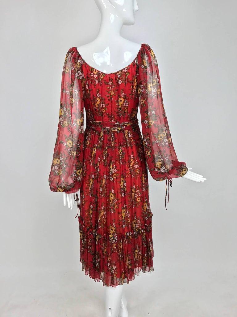 Vintage House of Arts India sheer silk floral print peasant dress 1970s 6