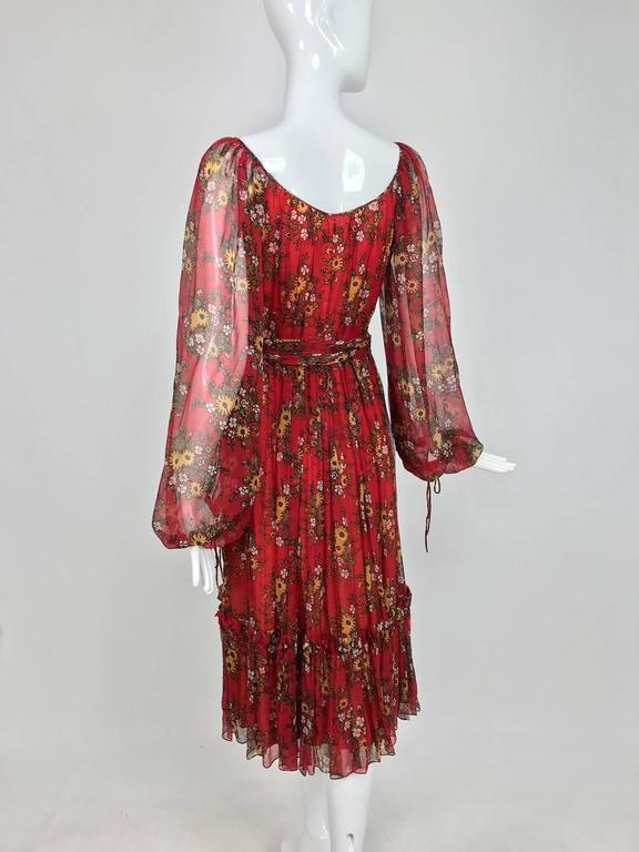 Vintage House of Arts India sheer silk floral print peasant dress 1970s For Sale 2