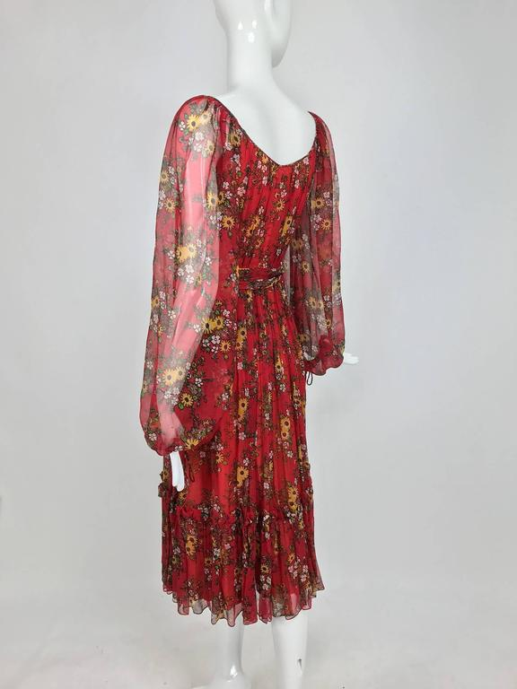 Vintage House of Arts India sheer silk floral print peasant dress 1970s For Sale 3