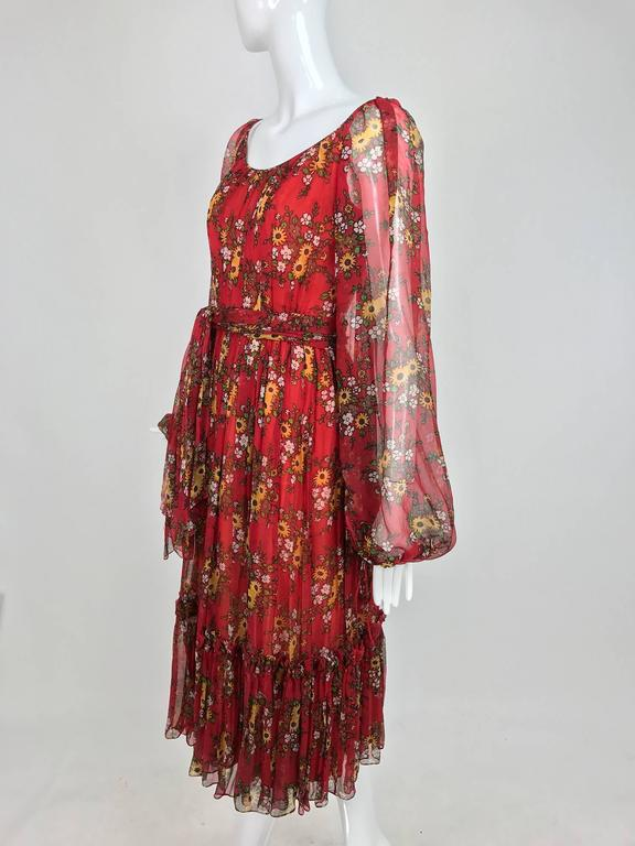 Vintage House of Arts India sheer silk floral print peasant dress 1970s For Sale 4