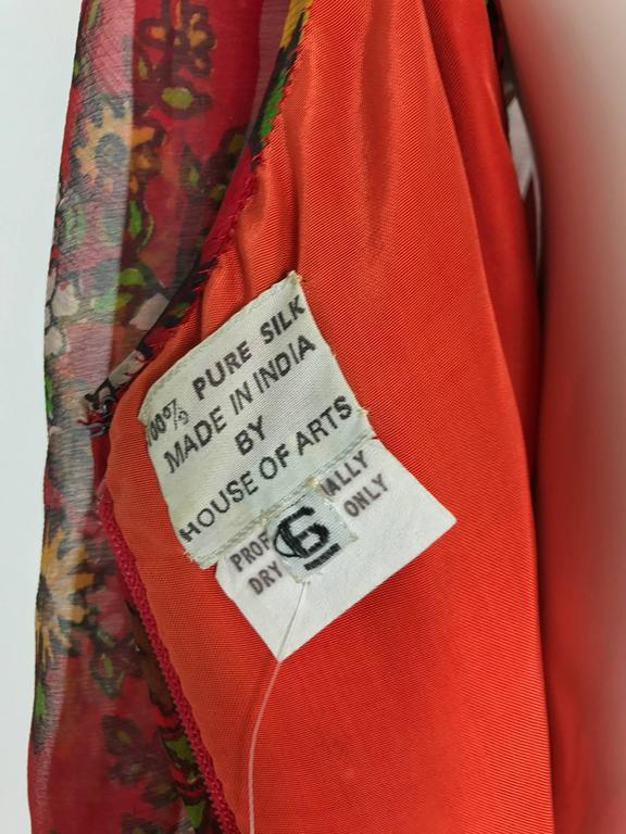 Vintage House of Arts India sheer silk floral print peasant dress 1970s For Sale 5