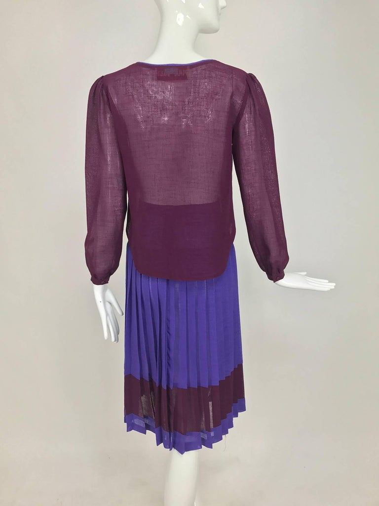 vintage max and lulu purple and burgundy linen top and