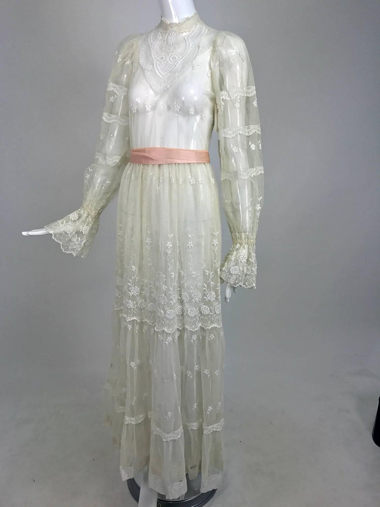 Vintage victorian style ivory lace and tulle maxi dress for 1970s wedding dresses for sale