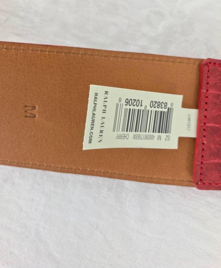 Ralph Lauren red alligator belt with gold horseshoe buckle For Sale 1