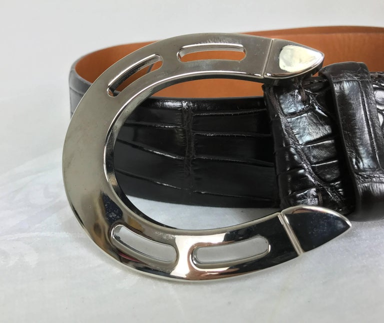Ralph Lauren dark brown alligator belt with silver horseshoe buckle 2
