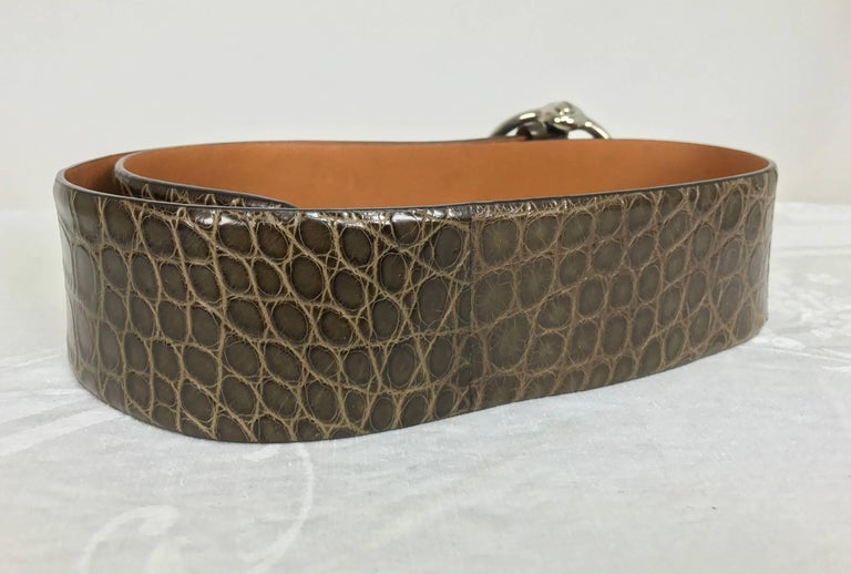 Black Ralph Lauren wide brown alligator belt with heavy silver buckle M For Sale