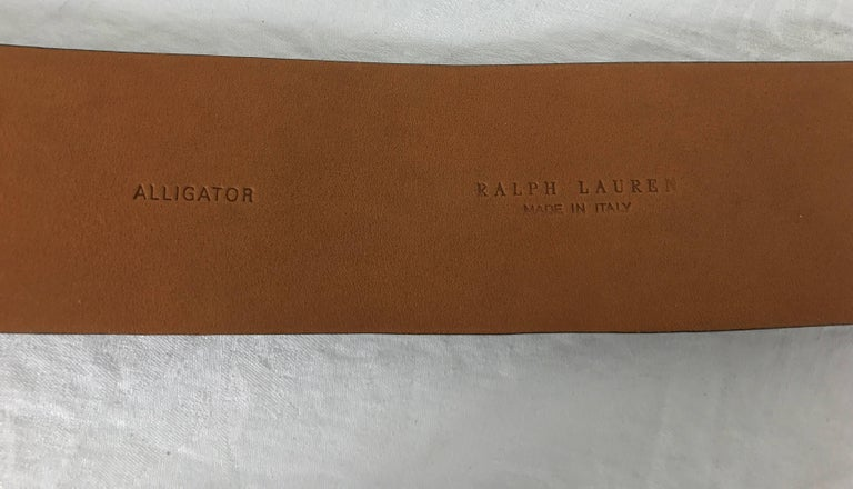 Ralph Lauren wide brown alligator belt with heavy silver buckle M In Excellent Condition For Sale In West Palm Beach, FL