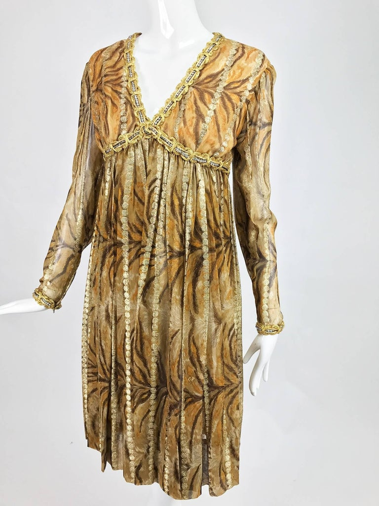 Brown Vintage Bill Blass golden silk chiffon metallic tiger stripe cocktail dress 1970 For Sale