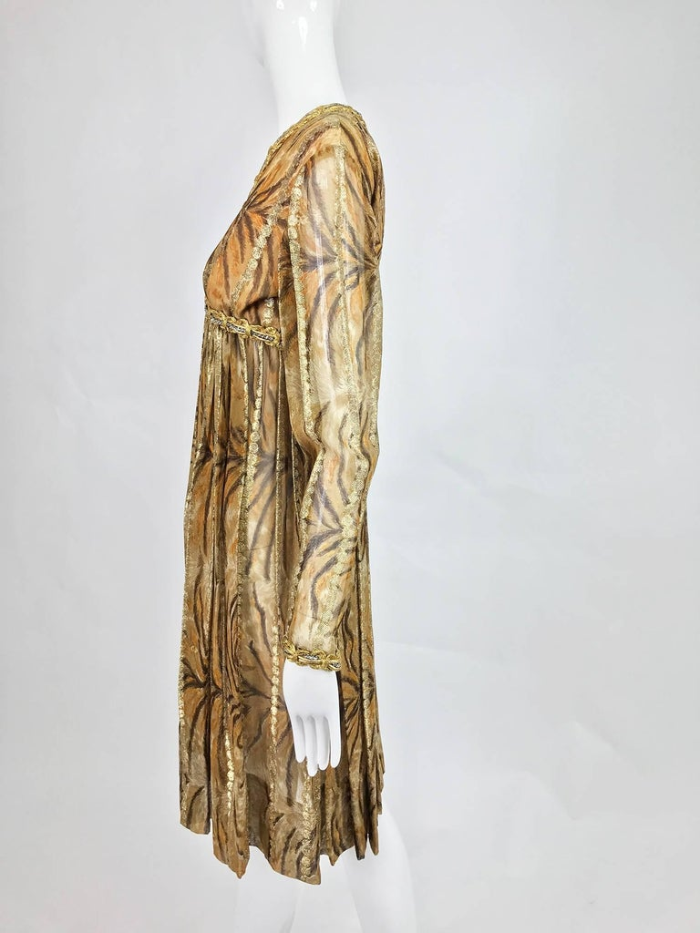 Women's Vintage Bill Blass golden silk chiffon metallic tiger stripe cocktail dress 1970 For Sale