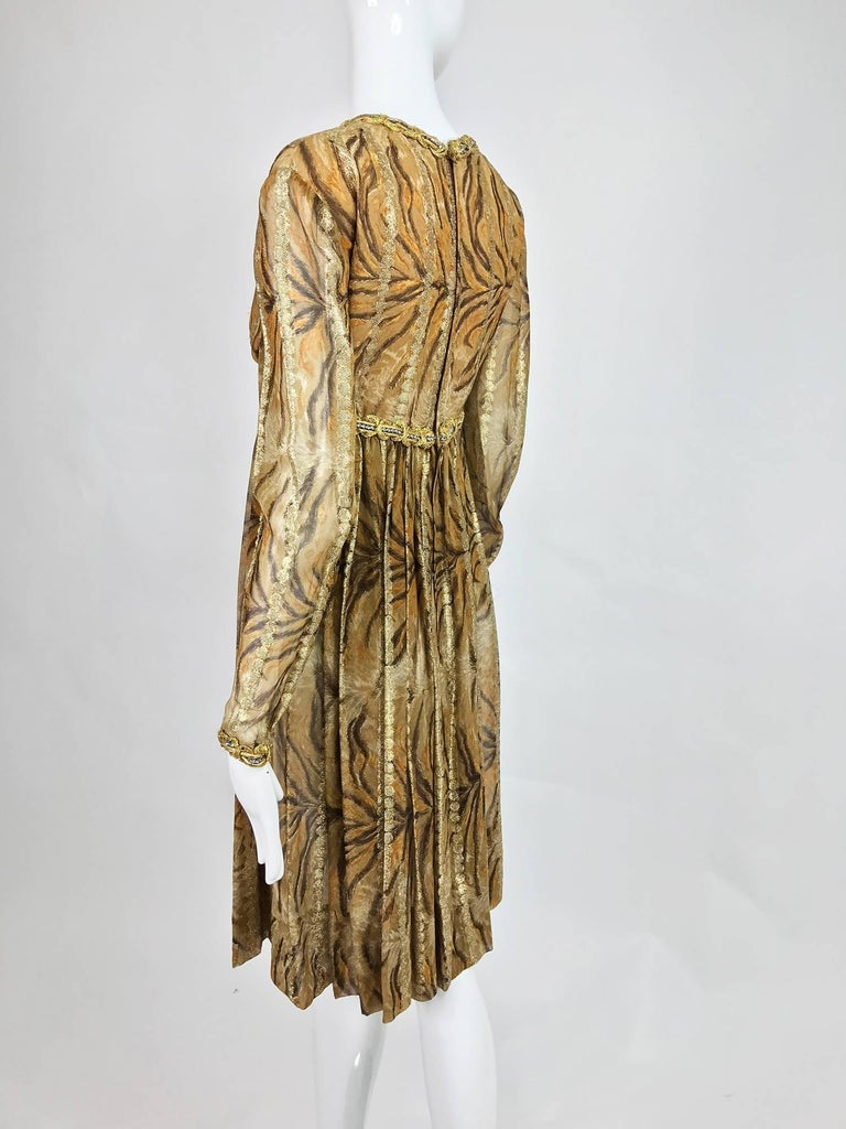 Vintage Bill Blass golden silk chiffon metallic tiger stripe cocktail dress 1970 For Sale 1