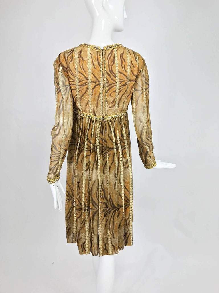Vintage Bill Blass golden silk chiffon metallic tiger stripe cocktail dress 1970 For Sale 2