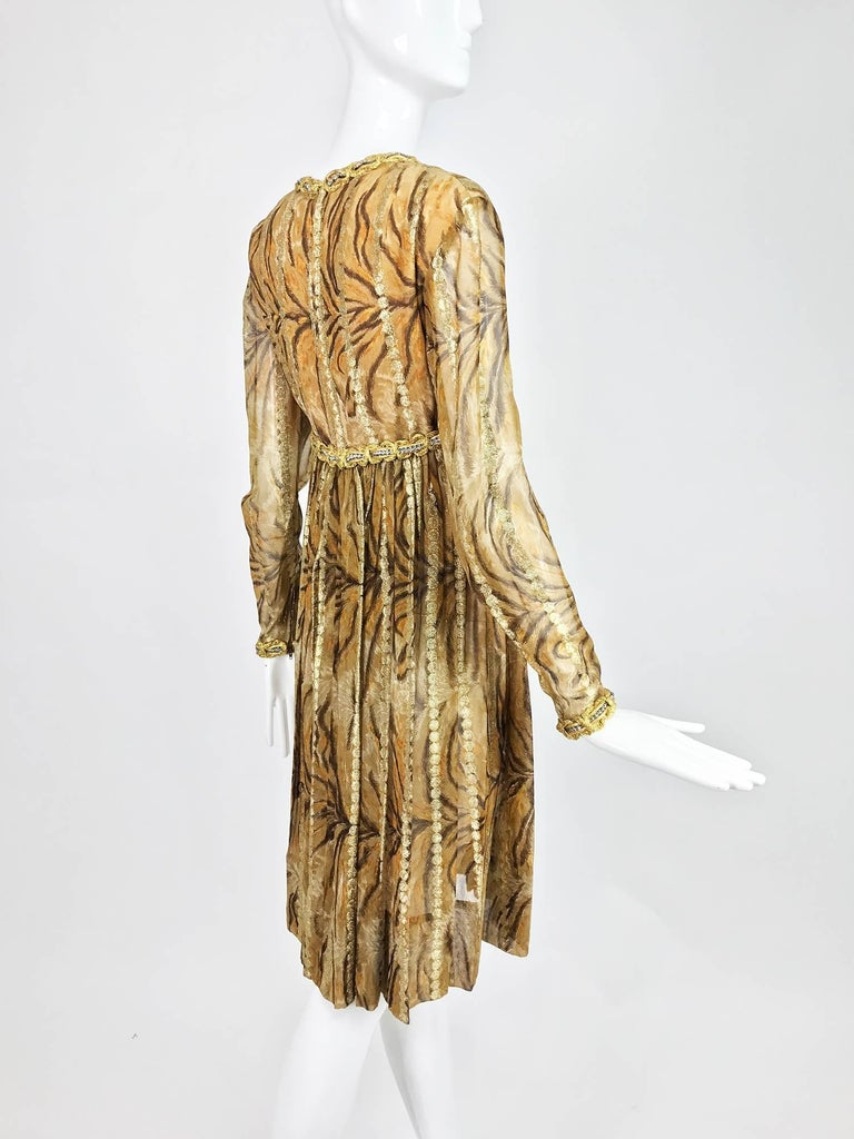 Vintage Bill Blass golden silk chiffon metallic tiger stripe cocktail dress 1970 For Sale 3