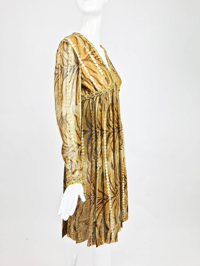 Vintage Bill Blass golden silk chiffon metallic tiger stripe cocktail dress 1970 For Sale 4