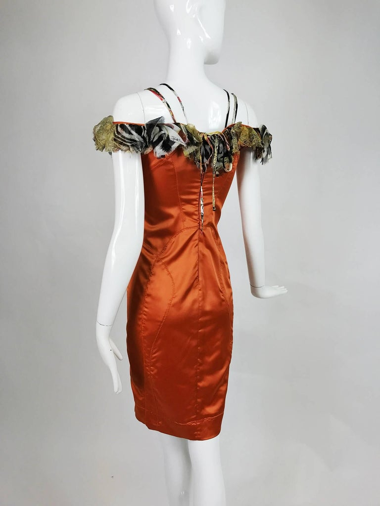 Roberto Cavalli russet stretch satin ruffle shoulder dress In Excellent Condition For Sale In West Palm Beach, FL