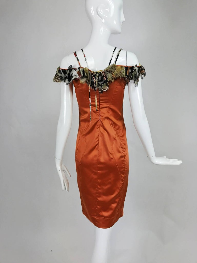 Women's Roberto Cavalli russet stretch satin ruffle shoulder dress For Sale