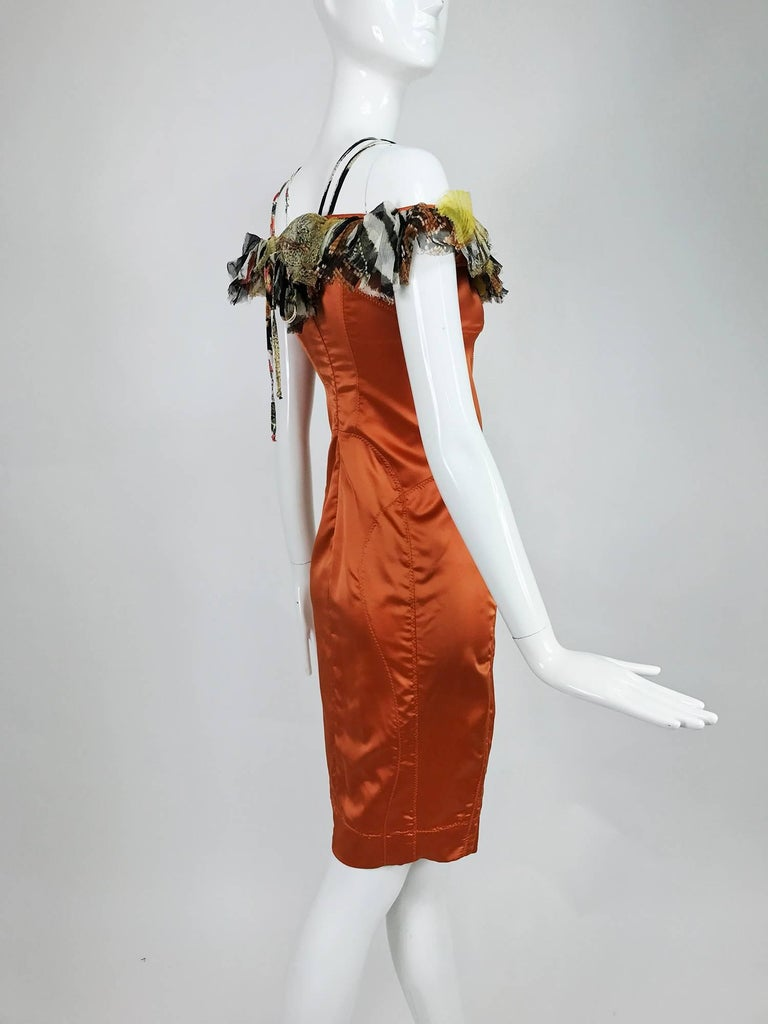 Roberto Cavalli russet stretch satin ruffle shoulder dress For Sale 2