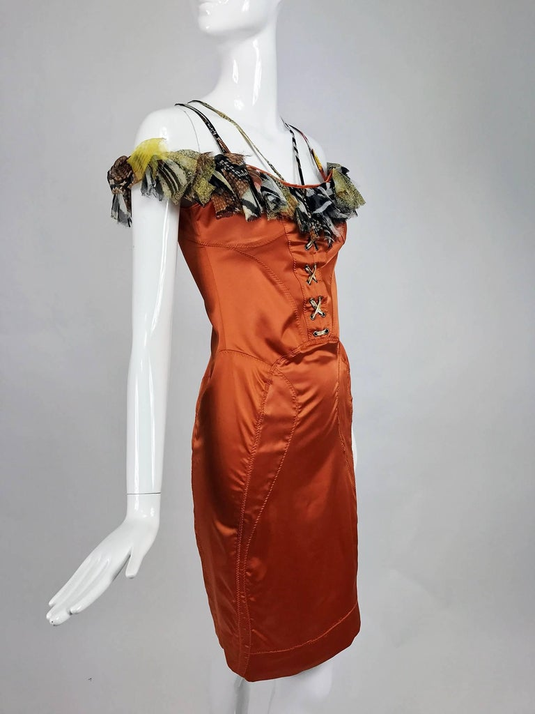 Roberto Cavalli russet stretch satin ruffle shoulder dress For Sale 3