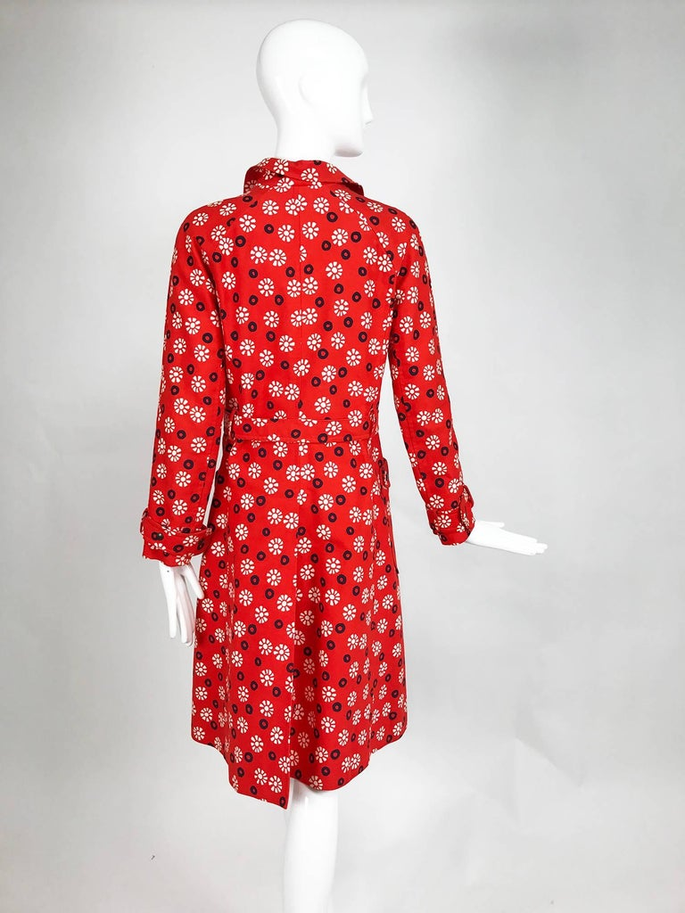 Women's Vintage Emanuel Ungaro printed cotton canvas trench coat 1960s For Sale
