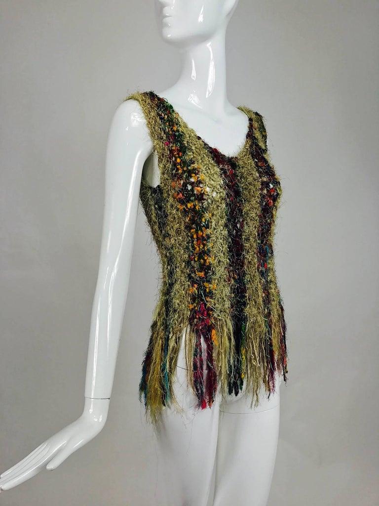 Vintage art to wear silk woven fringe top  2